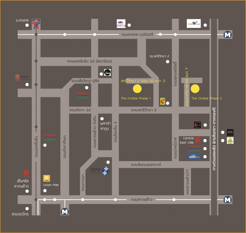แผนที่ the civilize บ้านแฝด ลาดพร้าว บ้านหรู-1